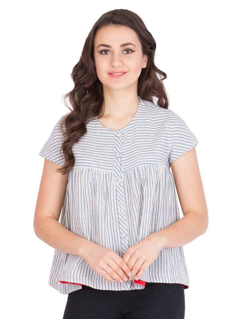 Off White Grey Stripes Cotton Top