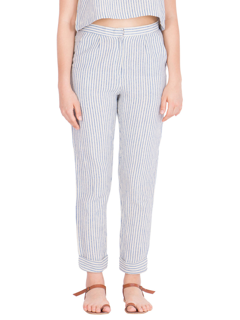 White Cotton Striped Trousers