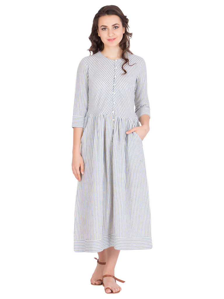 Off White Grey Stripes Cotton Maxi Dress