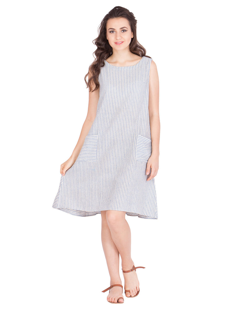 White Blue Cotton Stripe Dress