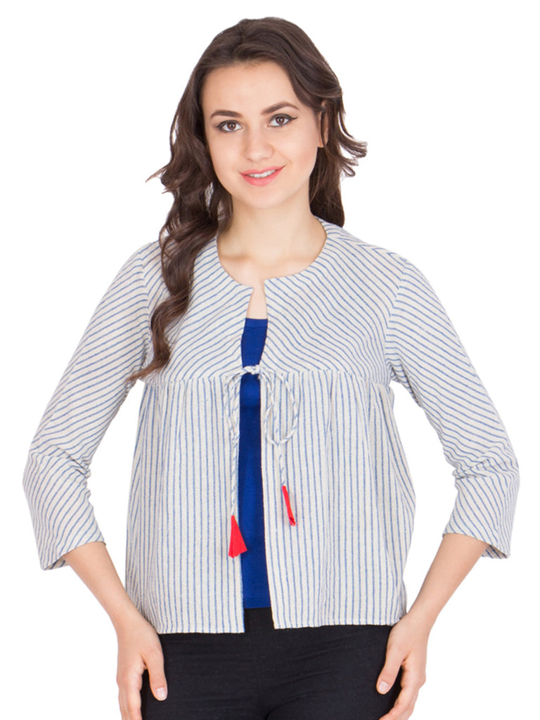 White Blue Stripes Cotton Wrap Top