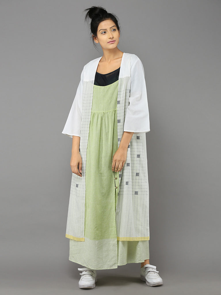 White Cotton Sugarcube Duster Coat