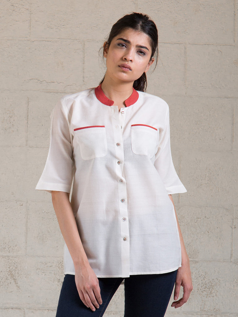 White Red Cotton Top