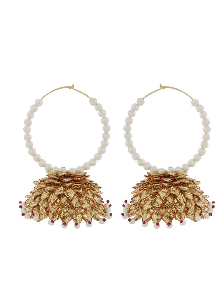 White Golden Pearl Hoops Earrings