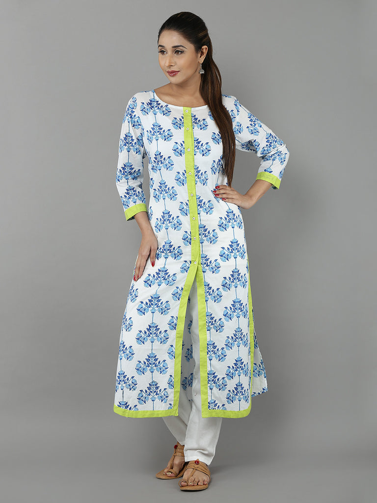 White Green Blue Hand Block Printed Cotton Kurta