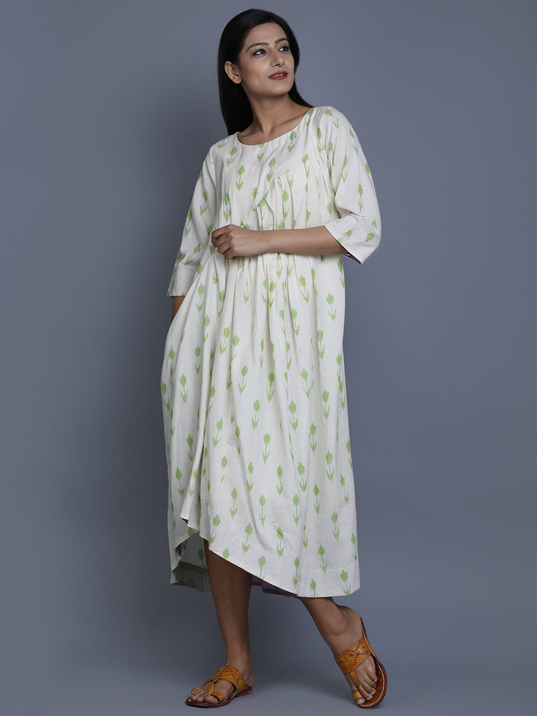 White Green Cotton Ikat Asymmetric Dress