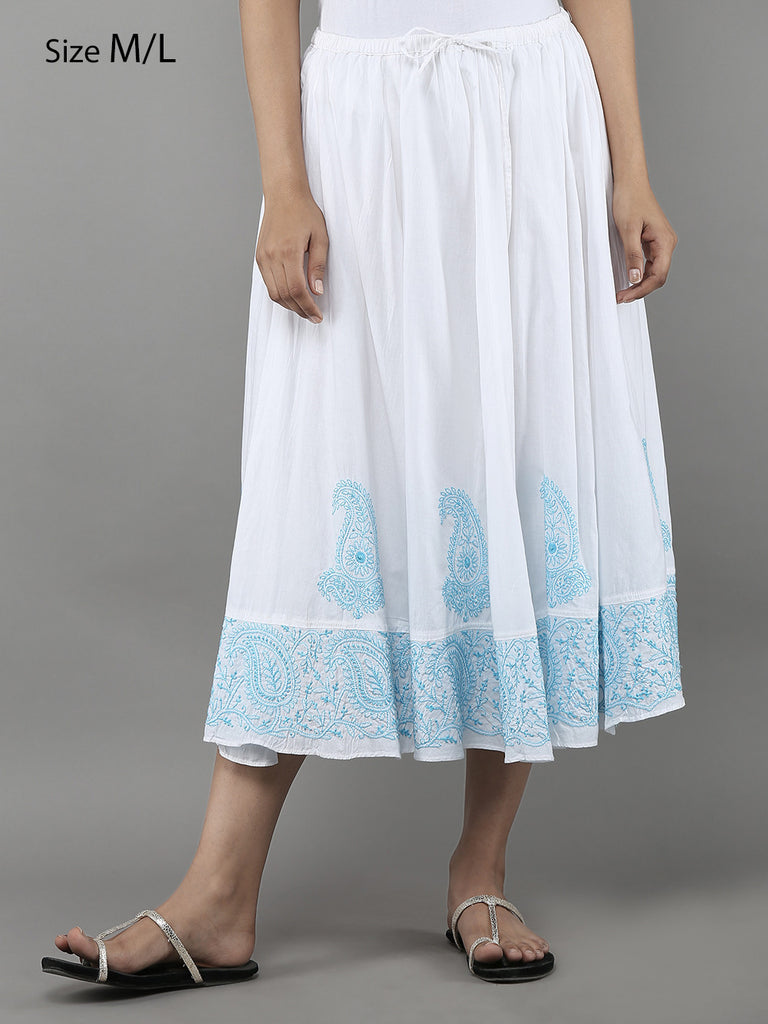 White Lucknowi Hand Embroidered Cotton Skirt