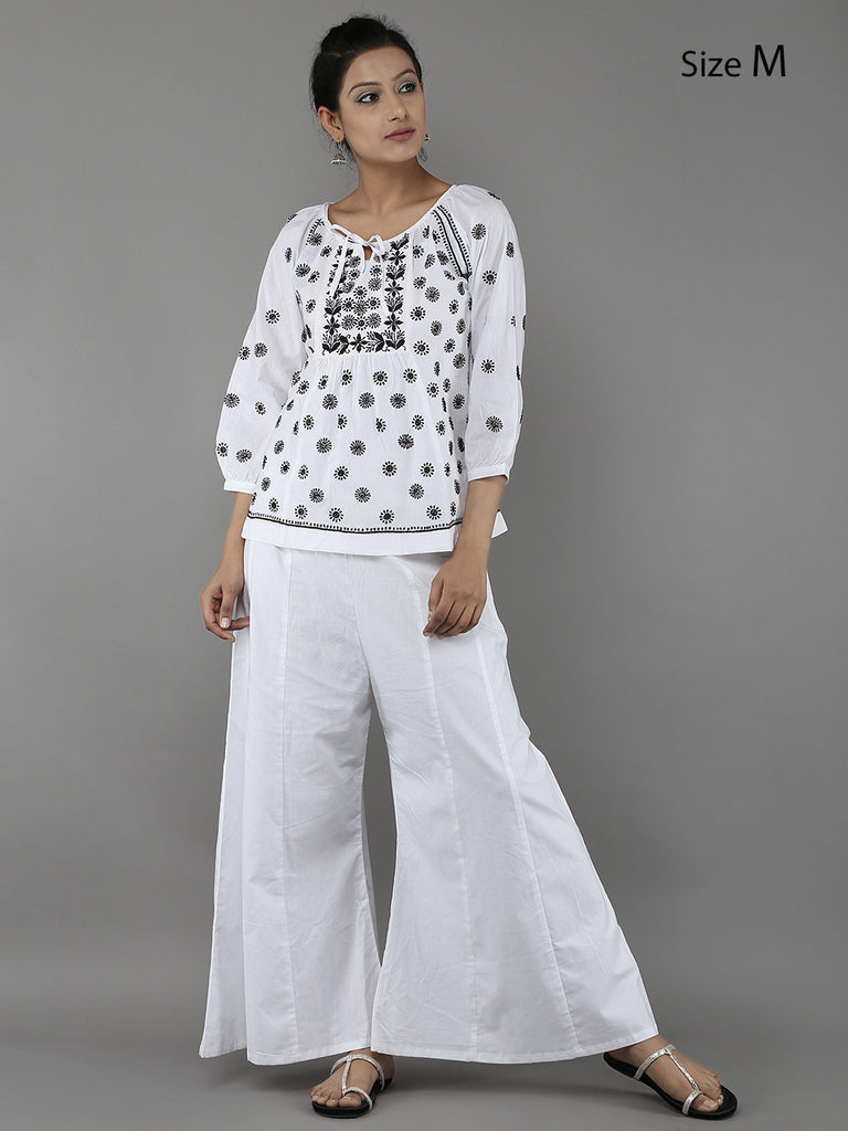 White Lucknowi Hand Embroidered Cotton Top