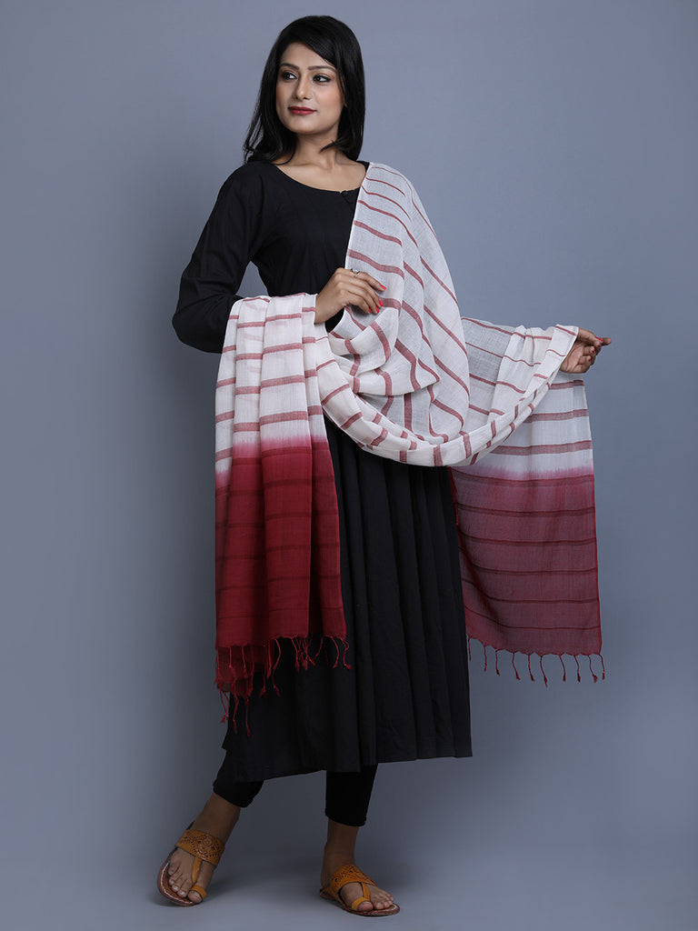 Off White Maroon Cotton Tie and Dye Handwoven Dupatta