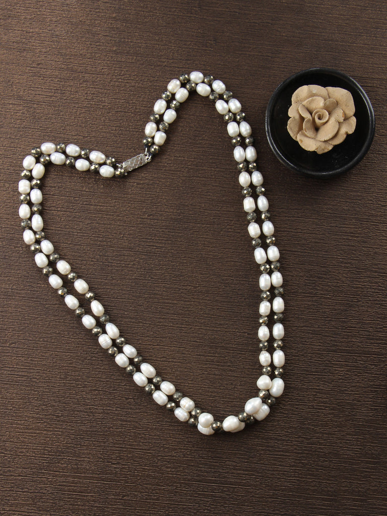 White Metallic Silver Pearls and Pyrite String Necklace