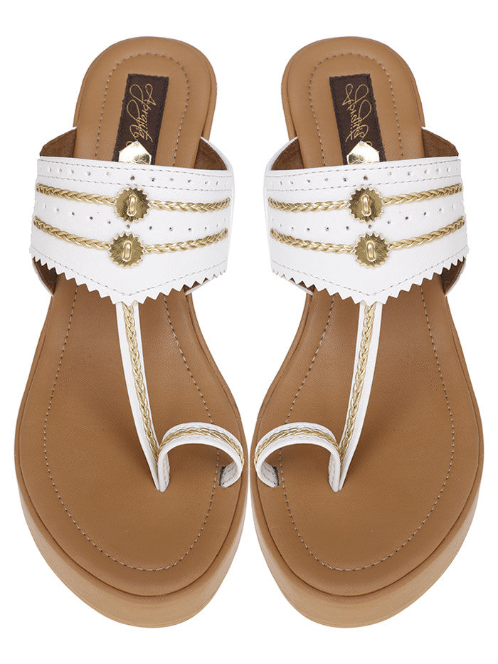White Beige Handcrafted Leatherette Kolhapuris Wedges