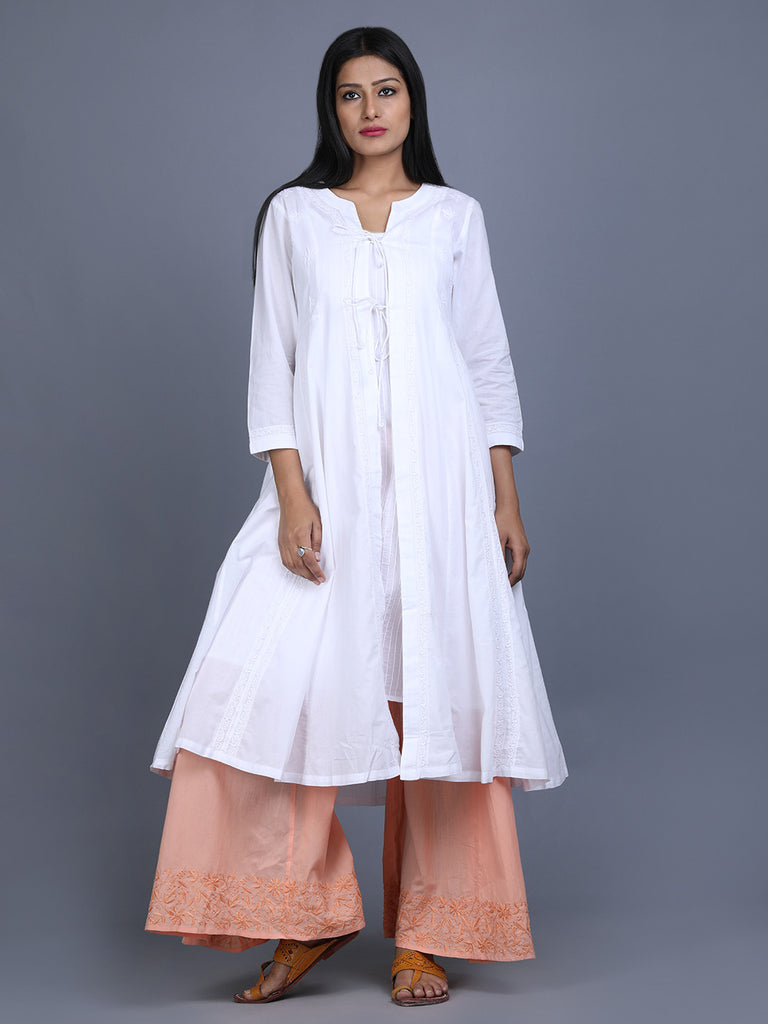 White Peach Cotton Hand Embroidered Kurta with Slip and Palazzo - Set of 3