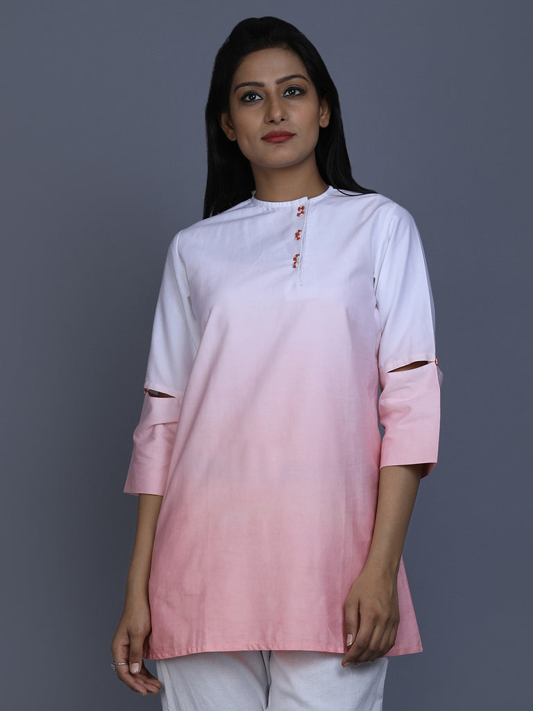 White Peach Ombre Cotton Satin Top