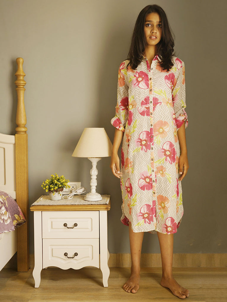 White Pink Linen Floral Shirt Dress