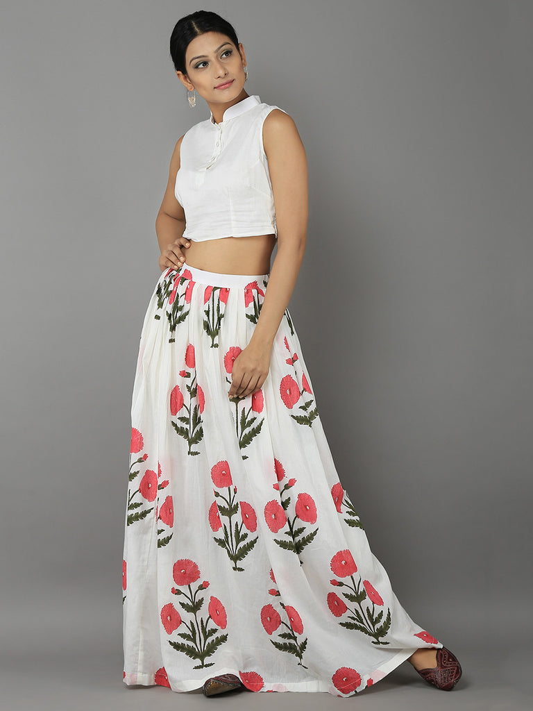 White Pink Mulmul Cotton Top with Mogra Printed Skirt