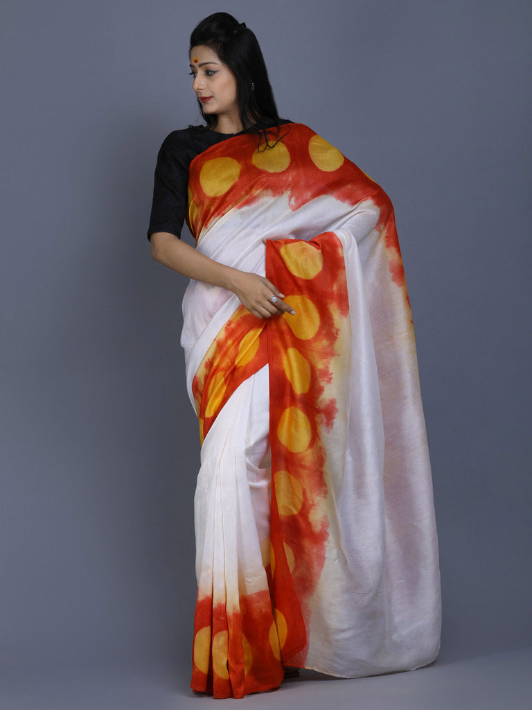 White Red Yellow Clamp Dyed Chanderi Silk Saree