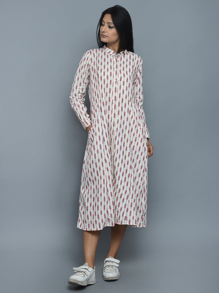 White Red Cotton Ikat Frock Dress