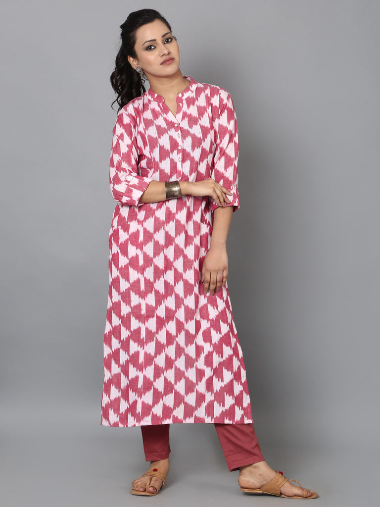 White Red Cotton Ikat Front Pocket Kurta