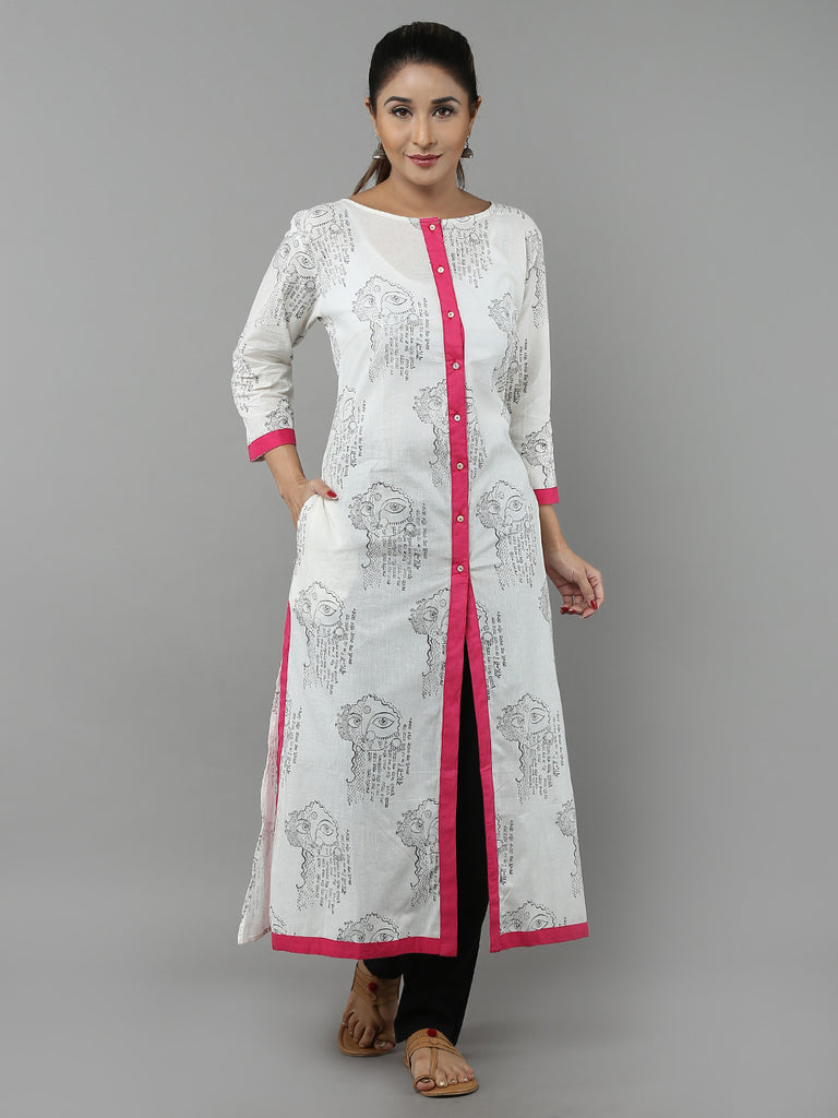 White Pink Hand Block Printed Cotton Kurta