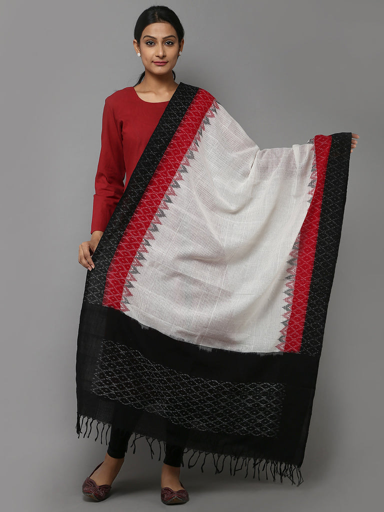 White Red Missing Ikat Cotton Dupatta