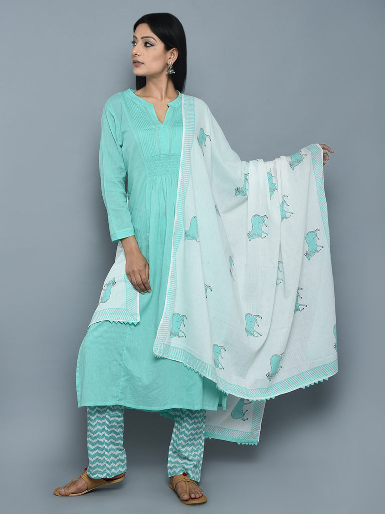 Turquoise Cotton Pintuck Kurta with Block Printed Pants and Dupatta - Set of 3