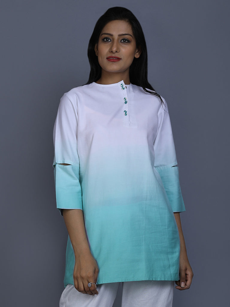 White Turquoise Ombre Cotton Satin Top