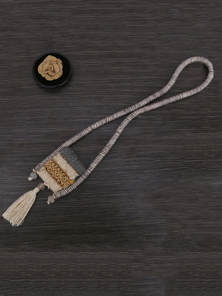 Grey White Hand Weaved Chord Necklace