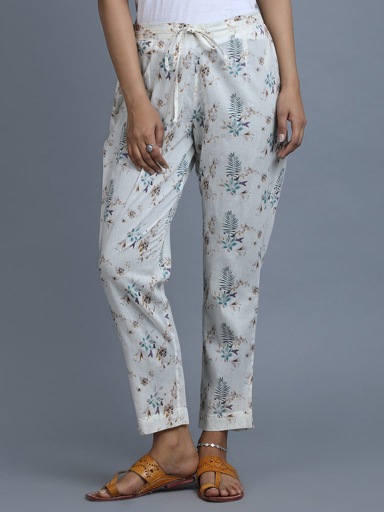 White Cotton Hand Block Printed Pants