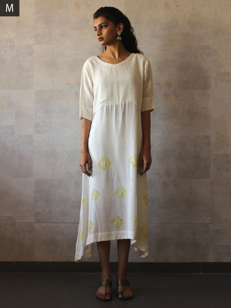 White Yellow Cotton Silk Bandhej Tunic