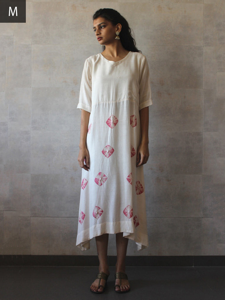 White Pink Cotton Silk Bandhej Tunic