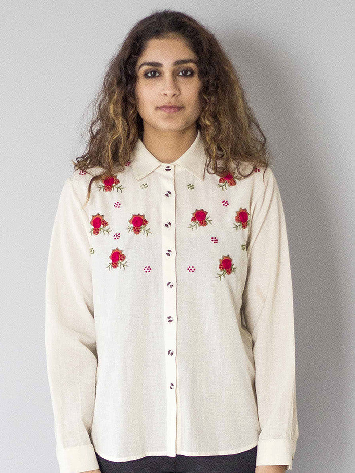 White Rosette Khadi Cotton Shirt