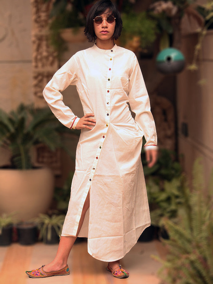 White Cotton Kurta Shirtdess
