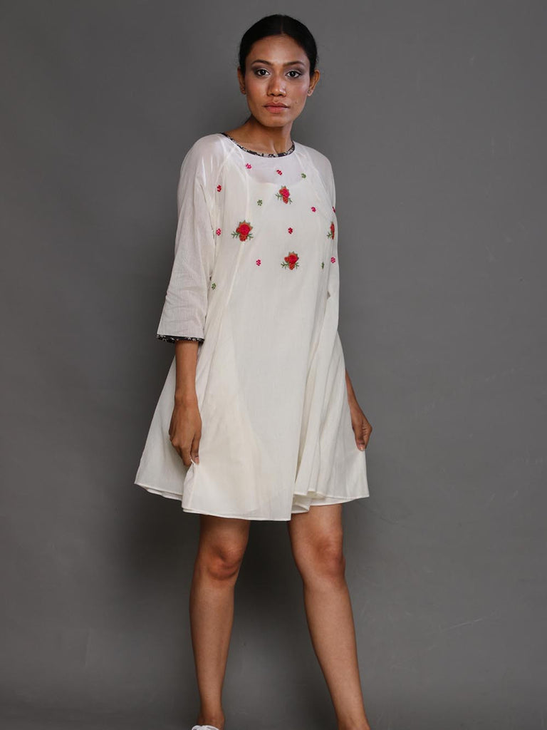 White Rosette Cotton Dress