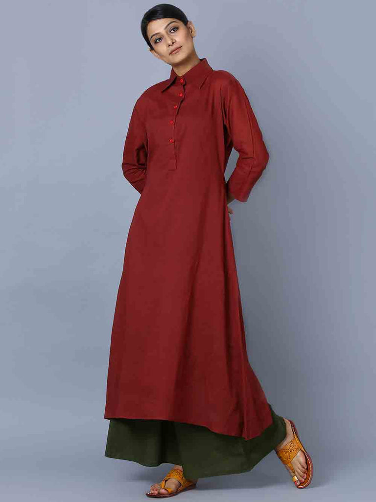 Maroon Green Mulmul Kurta and Palazzo - Set of 2