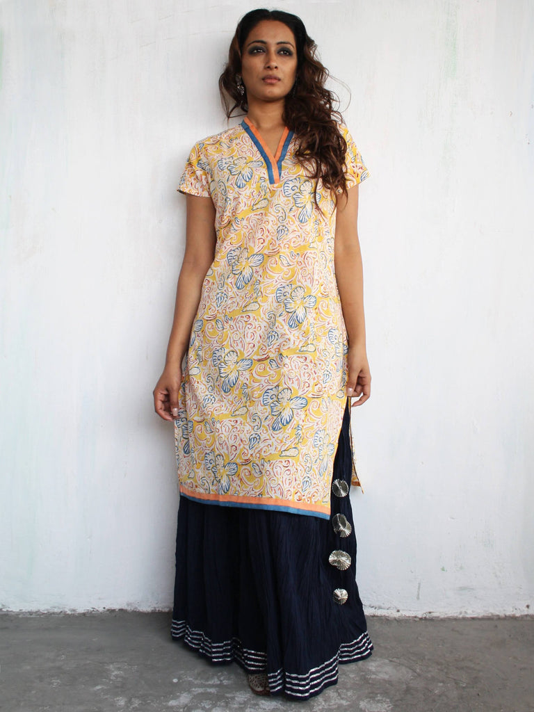 Yellow Cotton Hand Block Printed Kurta