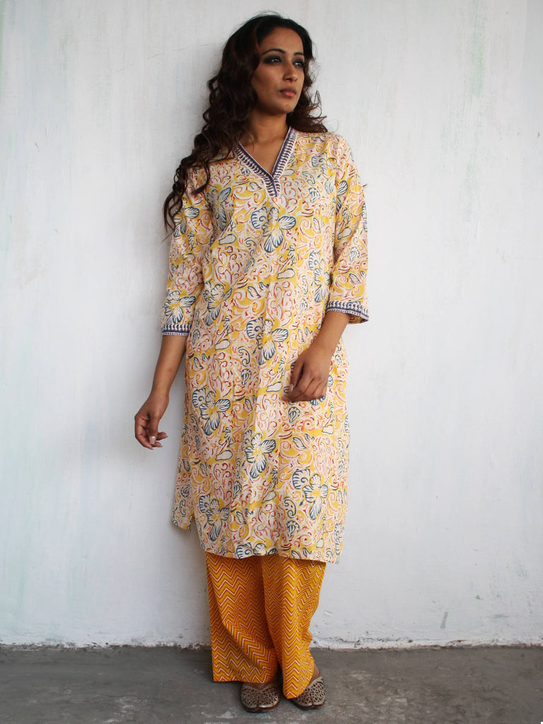 Yellow Cotton Hand Block Printed Cotton Kurta with Palazzo- Set of 2