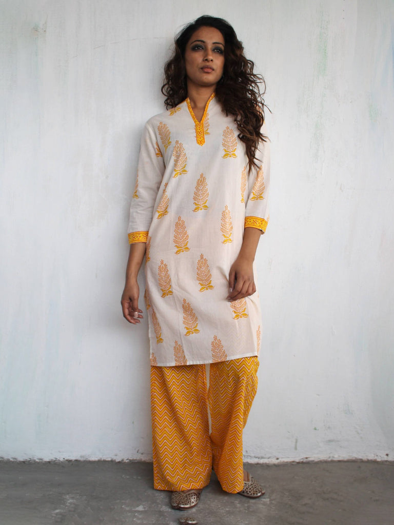 Yellow Cotton Hand Block Printed Kurta with Palazzo- Set of 2