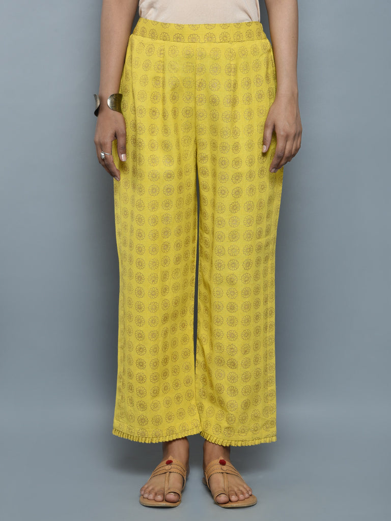 Yellow Golden Block Printed Khadi Pants