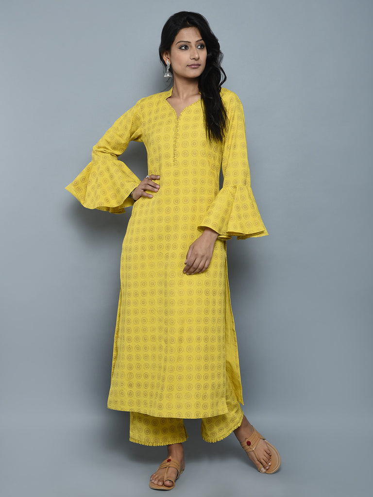 Yellow Golden Block Printed Khadi Kurta