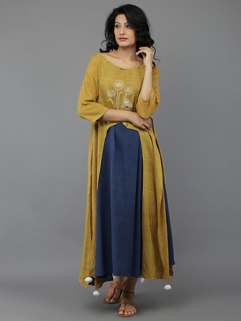 Yellow Blue Full Length Khadi Dress