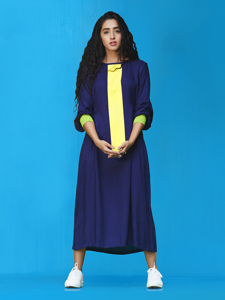 Yellow Blue Green Rayon Cotton Midi Dress