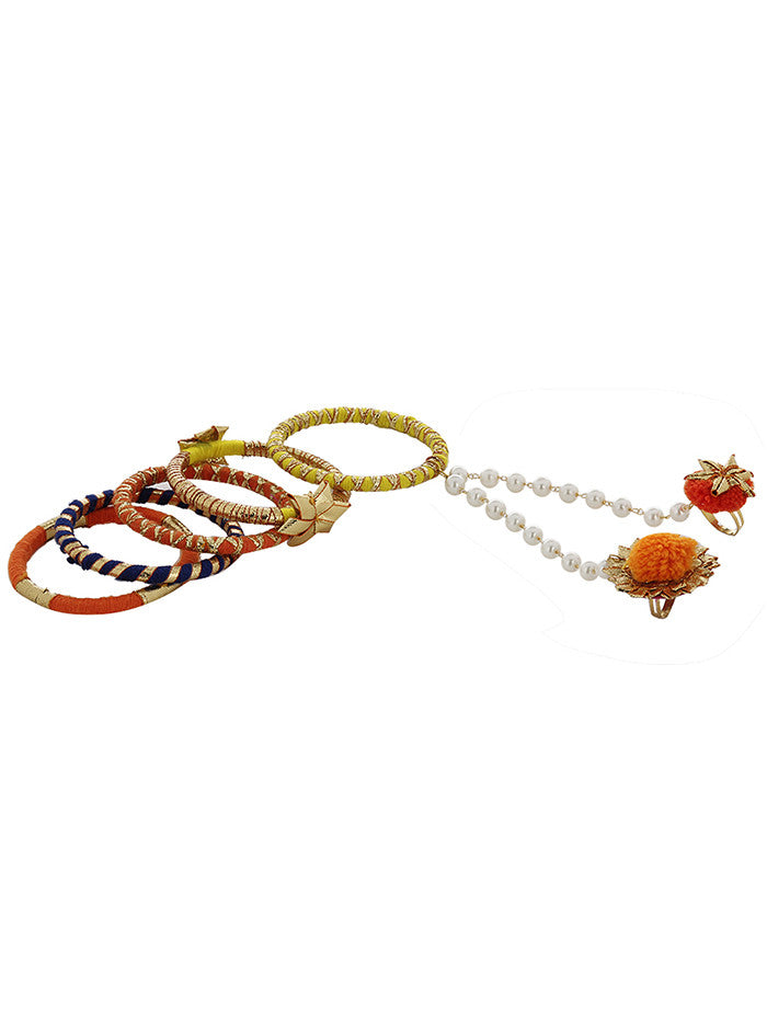 Yellow Orange Gota Bangles with Pearl Gota Ring