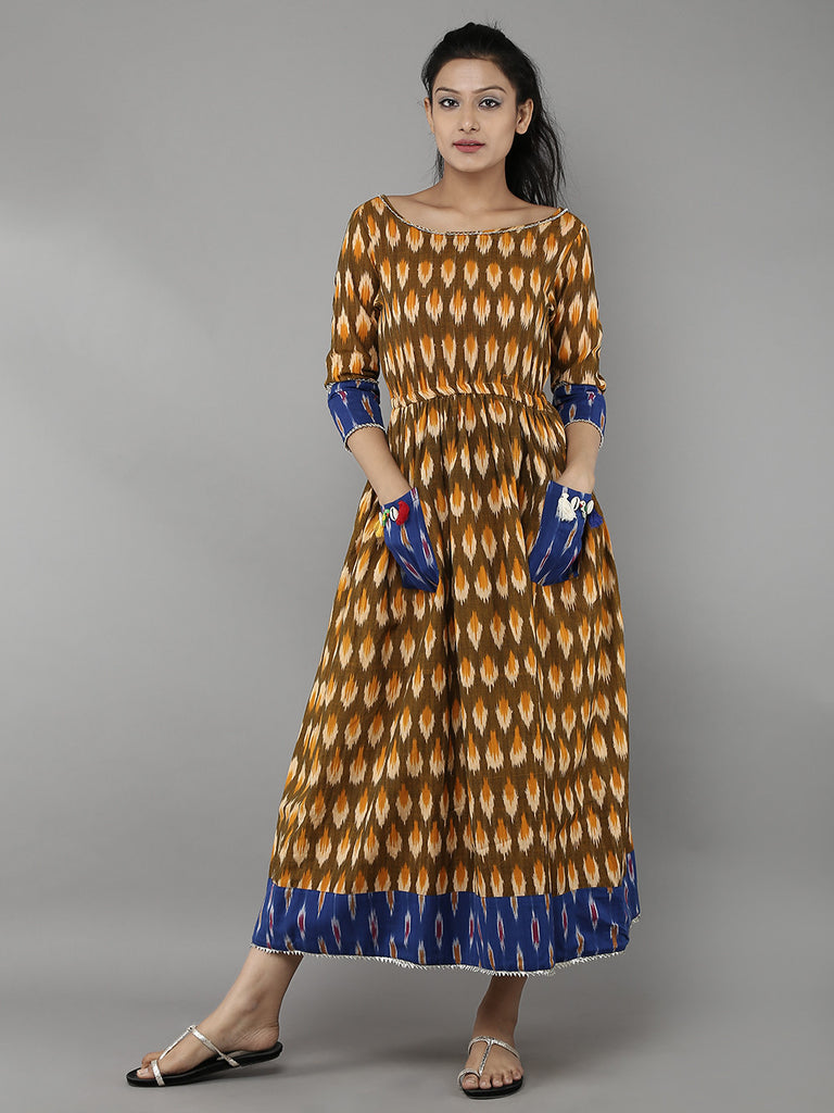 Yellow Brown Ikat Cotton Dress