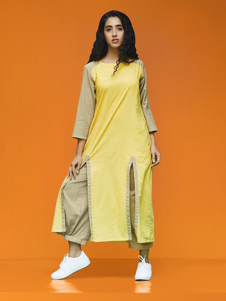 Yellow Brown Rayon Cotton Front Slit Kurta