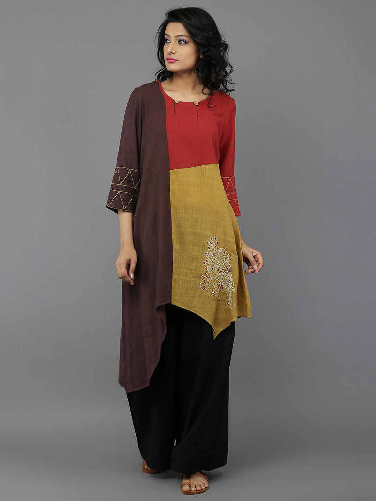 Yellow Brown Red Embroidered Khadi Kurta