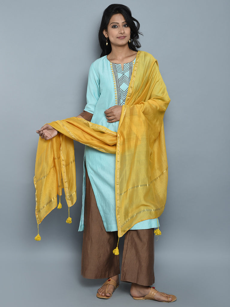 Yellow Chanderi Cotton Tassel Dupatta