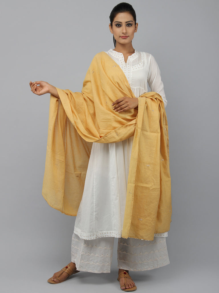 Yellow Chanderi Zardosi Dupatta