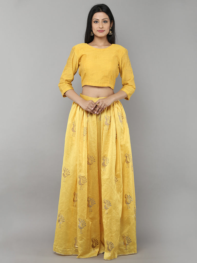 Yellow Chanderi Floral Printed Lehenga with Yellow Unstitched Blouse - Set of 2