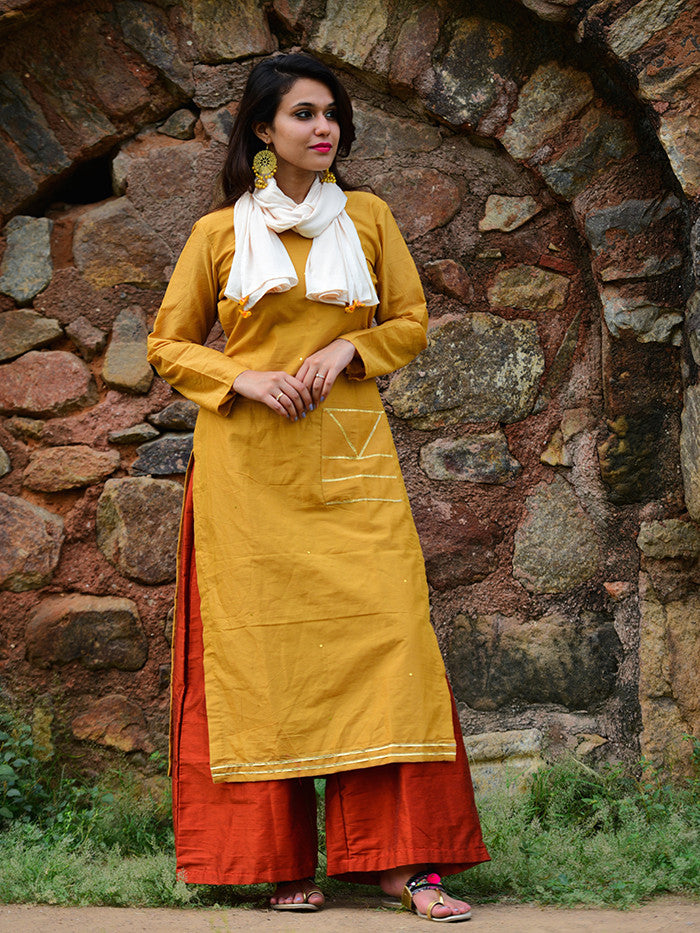 Yellow Chanderi Gota Embellished Kurta