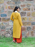Yellow Chanderi Kurta with Rust Palazzo and Cream Bird Tassel Scarf - Set of 3